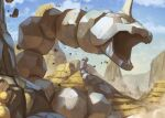 aqua_eyes canyon clouds commentary_request day gen_1_pokemon looking_at_another looking_to_the_side no_humans onix open_mouth outdoors peeking_out pokemon pokemon_(creature) rock sandshrew sky supearibu