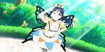 blue_hair blush dress long_hair love_live!_school_idol_festival_all_stars matsuura_kanan ponytail smile violet_eyes wings wink