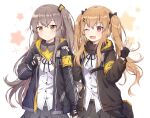 2girls ;d bangs black_bow black_gloves black_jacket black_ribbon black_skirt blush bow breasts brown_eyes brown_hair caramell0501 commentary_request eyebrows_visible_through_hair fingerless_gloves girls_frontline gloves grey_skirt hair_between_eyes hair_bow hair_ornament hairclip hand_on_another's_shoulder hands_up highres jacket long_hair long_sleeves looking_at_viewer multiple_girls neck_ribbon one_eye_closed one_side_up open_clothes open_jacket open_mouth pleated_skirt red_eyes ribbon scar scar_across_eye shirt skirt small_breasts smile starry_background twintails ump45_(girls_frontline) ump9_(girls_frontline) very_long_hair white_background white_shirt