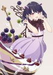 1girl absurdres arms_up bare_arms blue_hair blush bow bowtie brown_neckwear chocolate commentary cup dress feet_out_of_frame food frilled_bow frills fruit fukumaru_koito grapes hair_bow highres idolmaster idolmaster_shiny_colors in_container in_cup in_food looking_at_viewer open_mouth parfait paw_pose pink_background purple_bow purple_dress raspberry shimashi_(mori_no_sato) short_hair short_sleeves simple_background smile solo spoon twintails violet_eyes wavy_hair