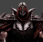 1boy armor breastplate cropped face glowing glowing_eyes grey_background helm helmet highres league_of_legends male_focus mask muscle ninja pauldrons red_eyes scratches seung_eun_kim shoulder_armor shuriken simple_background solo torn torn_clothes upper_body veins weapon weapon_on_back zed_(league_of_legends)