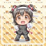 1girl :d akagi_miria bangs big_head black_hair black_jacket black_pants blush brown_eyes brown_footwear chibi clenched_hands diagonal_stripes eyebrows_visible_through_hair flying_sweatdrops full_body gakuran gloves hair_between_eyes hair_intakes headband idolmaster idolmaster_cinderella_girls jacket long_sleeves looking_at_viewer open_mouth ouendan outstretched_arm pants regular_mow school_uniform shadow shoes smile solo standing striped striped_background sweat two_side_up white_gloves
