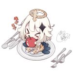 >_< 1girl angel bangs beni_shake black_cape blush boots cape chibi closed_eyes commentary_request cute dress eating eyebrows_visible_through_hair food fork genshin_impact halo holding holding_food knife loli long_sleeves mihoyo_technology_(shanghai)_co._ltd. minigirl paimon_(genshin_impact) plate signature simple_background single_thighhigh solo spoon thigh-highs thighhighs_under_boots translation_request white_background white_dress white_footwear white_hair white_legwear