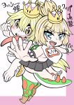 2girls :d bare_shoulders barefoot blonde_hair blue_eyes blush bowsette_jr. bracelet breasts character_name collar commentary_request crown eyebrows_visible_through_hair feet forked_eyebrows grey_skirt highres jewelry long_hair looking_at_viewer mario_(series) mini_crown multiple_girls new_super_mario_bros._u_deluxe open_mouth pleated_skirt ponytail princess_yoshi sharp_teeth skirt smile spiked_bracelet spiked_collar spiked_shell spiked_tail spikes super_crown tail teeth tekito_nimo toes turtle_shell under_boob v-shaped_eyebrows very_long_hair yellow_eyes