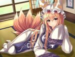 1girl :o absurdres alternate_hair_length alternate_hairstyle arm_support arm_up blonde_hair blush breasts commentary dress eyebrows_visible_through_hair fox_tail hair_between_eyes hanging_scroll hat highres kure:kuroha large_breasts long_hair looking_at_viewer lying multiple_tails on_floor on_side pillow_hat scroll sleeves_past_fingers sleeves_past_wrists sliding_doors solo tabard tabi tail tatami touhou very_long_hair white_dress white_legwear yakumo_ran yellow_eyes