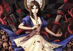 1girl alice:_madness_returns alice_(wonderland) alice_in_wonderland american_mcgee's_alice apron black_hair blood breasts closed_mouth dress green_eyes jewelry jupiter_symbol knife long_hair looking_at_viewer natsume_k necklace