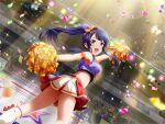 cheerleader long_hair ponytail purple_hair shoujo_kageki_revue_starlight skirt smile tomoe_tamao violet_eyes