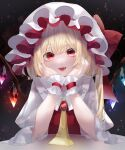 1girl :d absurdres blonde_hair bonnet bow eyebrows_visible_through_hair fangs flandre_scarlet hat hat_bow head_rest highres large_bow long_hair long_sleeves looking_at_viewer neckerchief open_mouth red_bow red_eyes side_ponytail sitting slit_pupils smile solo table touhou upper_body white_headwear white_sleeves wings wrist_cuffs yellow_neckwear yukia_(yukia_777)