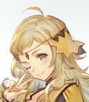 1girl ahoge blonde_hair circlet diadem fire_emblem fire_emblem_fates fire_emblem_heroes grey_eyes headshot looking_at_viewer one_eye_closed ophelia_(fire_emblem) smile solo sparkle sparkling_eyes teeth umiu_geso v white_background