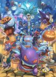 alolan_exeggutor alolan_form arm_up bucket building butterfree clouds commentary delphox dreepy electrode fangs gen_1_pokemon gen_4_pokemon gen_5_pokemon gen_6_pokemon gen_7_pokemon gen_8_pokemon gengar halloween haunter highres holding holding_stick jack-o'-lantern joltik lucario lycanroc lycanroc_(dusk) moon mouth_hold nidoran nidoran_(male) night open_mouth outdoors pokemon pokemon_(creature) running scolipede sharp_teeth shiny sky smile sparkle standing stick supearibu teeth tongue tongue_out voltorb weavile zubat