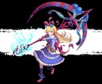 1girl :d anklet belt blonde_hair blue_dress blue_eyes blue_fire bow commentary_request dress eyebrows_visible_through_hair fire flower fredrica_(kokubyaku_no_avesta) frilled_dress frills full_body hair_bow hair_flower hair_ornament heart heart-shaped_pupils highres huge_weapon jewelry kokubyaku_no_avesta long_hair looking_at_viewer mary_janes okina_(805197) open_mouth ribbon scythe shinza_bansho_series shoes smile solo spiked_anklet symbol-shaped_pupils two-tone_background waist_bow weapon wrist_bow