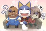 4boys :< anger_vein animal_crossing animal_ears annoyed antenna_hair argyle_shirt arm_around_shoulder arms_up bald bangs barefoot black_eyes black_footwear blank_eyes blush boots brown_hair cat_boy cat_ears clenched_teeth closed_eyes closed_mouth commentary_request couch crossed_legs digby_(animal_crossing) dog_boy dog_ears doubutsu_no_mori freckles full_body furry gradient gradient_background green_pants hands_together happy jacket k.k._slider_(animal_crossing) male_focus mole_(animal) mr._resetti multiple_boys necktie nintendo nintendo_ead no_humans o_o open_mouth outline outstretched_arms overalls pants pink_background red_jacket red_shirt rover_(animal_crossing) shirt short_hair short_sleeves simple_background sitting sleeveless sleeveless_shirt smile spread_arms suspenders sweatdrop teeth thick_eyebrows translation_request tsutsuji_(hello_x_2) turn_pale very_short_hair white_eyes white_shirt yellow_neckwear