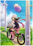 1girl beanie bicycle black_hair black_legwear boots border clouds commentary_request dawn_(pokemon) day drifloon film_grain floating_hair floating_scarf flower gen_4_pokemon grass ground_vehicle hair_ornament hairclip hat highres holding looking_back outdoors over-kneehighs pachirisu path pink_footwear pokemon pokemon_(creature) pokemon_(game) pokemon_dppt ririmon scarf sitting sky thigh-highs white_border white_headwear wind_turbine windmill