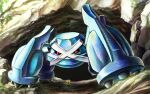 black_sclera cave claws commentary_request day flower gen_3_pokemon kaosu_(kaosu0905) looking_down metagross no_humans outdoors pokemon pokemon_(creature) red_eyes solo yellow_flower