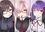 3girls absurdres bangs bare_shoulders bb_(fate)_(all) bb_(fate/extra_ccc) black_coat black_dress blush breasts brown_eyes brown_hair coat consort_yu_(fate) dress fate/extra fate/extra_ccc fate/grand_order fate_(series) food fou_(ssqseeker) glasses gloves grey_dress hair_over_one_eye hair_ribbon highres jacket large_breasts layered_dress leotard light_purple_hair long_hair long_sleeves looking_at_viewer mash_kyrielight mouth_hold multiple_girls neck_ribbon necktie open_clothes open_coat pocky pocky_day popped_collar purple_hair red_ribbon ribbed_dress ribbon short_hair smile very_long_hair violet_eyes white_gloves white_leotard