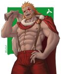1boy :d abs alternate_costume badge bara beard black_eyes brown_hair bulge cape dark_skin facial_hair fire_emblem fire_emblem_heroes gardios green_background hand_on_hip highres holding holding_sack looking_at_viewer male_focus muscle nipples open_mouth pants pectorals red_cape red_eyes red_pants redhead sack santa_costume scar scar_across_eye short_hair simple_background smile solo_focus surtr_(fire_emblem) suspenders