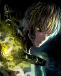 1boy black_sclera blonde_hair closed_mouth crown genos highres male_focus matcho one-punch_man short_hair solo yellow_eyes