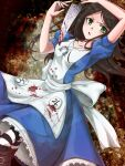1girl alice:_madness_returns alice_(wonderland) alice_in_wonderland american_mcgee's_alice apron black_hair blood breasts dress green_eyes highres jewelry jupiter_symbol knife long_hair looking_at_viewer necklace pantyhose solo striped striped_legwear