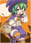 1girl antennae baby_bottle bangs bat blouse blush border bottle cape cloak collared_blouse commentary_request cowboy_shot cross diaper emina eyebrows_visible_through_hair frilled_blouse green_eyes green_hair hair_between_eyes halloween halloween_bucket hat highres jack-o'-lantern leg_up long_sleeves looking_at_viewer moon one_eye_closed open_mouth orange_background orange_cape orange_sky pumpkin purple_cape purple_footwear purple_headwear purple_shorts shoes short_hair shorts sky solo striped striped_legwear thigh-highs tombstone touhou two-sided_cape two-sided_fabric upper_teeth v white_blouse witch_hat wriggle_nightbug