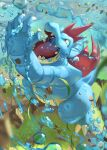 arm_up claws commentary_request feraligatr gen_2_pokemon grass head_back highres leaves_in_wind looking_up no_humans open_mouth orange_eyes pokemon pokemon_(creature) rock sharp_teeth solo standing supearibu teeth tongue water