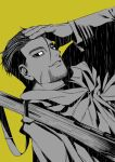 1boy black_eyes black_hair facial_hair facial_scar goatee golden_kamuy hair_slicked_back hair_strand hand_in_hair highres long_sleeves looking_at_viewer male_focus military military_uniform multiple_monochrome ogata_hyakunosuke over_shoulder scar scar_on_cheek short_hair stubble uniform weapon weapon_over_shoulder yellow_background zanki