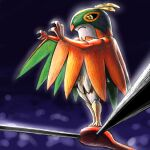 black_sclera claws closed_mouth commentary_request from_below frown gen_6_pokemon glowing hands_up hawlucha kaosu_(kaosu0905) pokemon pokemon_(creature) solo standing wrestling_ring yellow_eyes