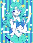 aqua_background aqua_skirt artist_name back_bow bishoujo_senshi_sailor_moon blue_background blue_bow bow breasts brooch choker circlet collarbone earrings elbow_gloves eyebrows_visible_through_hair gloves hand_on_own_cheek hoshikuzu_(milkyway792) jewelry kaiou_michiru leotard long_hair looking_at_viewer necklace neptune_symbol open_mouth outer_senshi pleated_skirt sailor_collar sailor_neptune sailor_senshi sailor_senshi_uniform signature skirt smile star_(symbol) starry_background striped striped_background wavy_hair white_gloves white_leotard