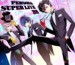 2019 3boys absurdres amamiya_ren arm_behind_back arm_up asymmetrical_bangs bangs black_eyes black_footwear black_hair black_jacket black_neckwear black_pants black_suit blue_eyes blue_gloves blue_hair bow bowtie closed_mouth commentary_request cowboy_shot dress_shirt english_text formal full_body glasses gloves grey_eyes grey_hair hair_between_eyes hair_over_one_eye hand_up hat highres holding holding_clothes holding_eyewear holding_hat holding_scepter jacket leg_up long_sleeves male_focus multiple_boys narukami_yuu pants persona persona_3 persona_4 persona_5 profile red_gloves scepter shirt shoes short_hair smile standing top_hat tsurime white_shirt yellow_gloves yuu_(isis7796) yuuki_makoto