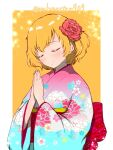 1girl akiyama_yukari alternate_costume alternate_hair_color aqua_kimono bangs blonde_hair closed_eyes closed_mouth commentary eyebrows_visible_through_hair facing_to_the_side floral_print flower girls_und_panzer hair_flower hair_ornament hands_together highres japanese_clothes katsuragi_(webmaster909) kimono light_blush light_particles long_sleeves messy_hair multicolored multicolored_clothes multicolored_kimono obi outside_border pink_kimono praying print_kimono red_flower sash short_hair smile solo standing twitter_username wide_sleeves yellow_background