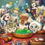 :3 apple armor cake candy_apple cookie doughnut drooling eating felyne fishing_rod food fruit gelatin highres horned_headwear kemonomichi_(blue_black) marshmallow mask monster_hunter monster_hunter:_world open_mouth smile spooning whipped_cream