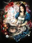 1girl alice:_madness_returns alice_(wonderland) alice_in_wonderland american_mcgee's_alice animal_ears apron black_hair cat_ears cheshire_cat closed_mouth dress green_eyes highres jewelry long_hair looking_at_viewer necklace open_mouth smile