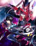 >_< 2boys absurdres amamiya_ren arms_up arsene_(persona_5) bangs black_coat black_eyes black_footwear black_hair black_headwear black_pants black_shirt black_wings card cat claws coat commentary cravat dagger diffraction_spikes feathered_wings gloves grin hair_between_eyes hands_up hat highres long_coat looking_at_viewer male_focus mask morgana_(persona_5) multiple_boys pants persona persona_5 platform_footwear red_coat red_eyes red_gloves shirt short_hair smile top_hat waistcoat weapon white_neckwear wings yellow_bandana yellow_neckwear yuu_(isis7796)
