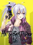 1girl blue_eyes character_name crossover cyberpunk cyberpunk_2077 english_commentary fuku_(fuku12290574) gun happy_birthday highres holding holding_gun holding_weapon indie_virtual_youtuber jacket licking_lips mechanical_parts pepsi ponytail purple_jacket silver_hair soda soda_bottle solo tied_hair tongue tongue_out v-shaped_eyebrows vei_(vtuber) virtual_youtuber weapon