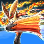 blaziken boxing_ring claws closed_mouth commentary_request fire gen_3_pokemon glowing green_eyes hands_up kaosu_(kaosu0905) kicking looking_to_the_side mega_blaziken mega_pokemon motion_lines pokemon pokemon_(creature) solo