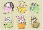 3boys 3girls :3 animal_crossing animal_ears banana bangs black_eyes black_hair black_sclera blonde_hair blunt_bangs blush blush_stickers border brown_background brown_hair bunny_tail cat_boy cat_ears cat_tail chibi chrissy_(animal_crossing) closed_eyes colton_(animal_crossing) commentary_request durian english_text epaulettes fake_animal_ears food freckles fruit furry hairband hand_up hands_up happy hood horns horse_boy light_blush lipstick looking_at_viewer makeup mint_(animal_crossing) muffy_(animal_crossing) multiple_boys multiple_girls one_eye_closed open_mouth orange outline oversized_object peach pear plaid_neckwear polka_dot polka_dot_background rabbit_ears rabbit_girl red_lipstick rolf_(animal_crossing) rudy_(animal_crossing) sheep_girl sheep_horns shiny shiny_hair short_hair simple_background smile squirrel_ears squirrel_girl squirrel_tail tail tiger_boy tiger_ears tiger_tail tsutsuji_(hello_x_2) white_border white_eyes white_hairband yellow_sclera