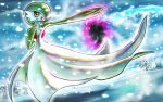 :o brown_eyes clouds commentary_request day gardevoir gen_3_pokemon glowing kaosu_(kaosu0905) open_mouth outdoors outstretched_arm pokemon pokemon_(creature) sky snow snowing solo tongue tree