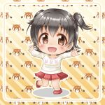 1girl :d akagi_miria bangs big_head black_hair blush brown_eyes chibi diagonal_stripes eyebrows_visible_through_hair full_body hair_between_eyes idolmaster idolmaster_cinderella_girls loafers long_sleeves looking_at_viewer open_mouth outstretched_arms pleated_skirt red_footwear red_skirt regular_mow shirt shoes skirt smile socks solo spread_arms standing standing_on_one_leg striped striped_background two_side_up white_legwear white_shirt