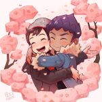 2boys bangs beanie blush bo9_(bo9_nc) brown_hair cable_knit closed_eyes closed_mouth commentary_request dated eyelashes fur-trimmed_jacket fur_trim grey_headwear hat highres hop_(pokemon) hug jacket long_sleeves male_focus multiple_boys open_mouth pokemon pokemon_(game) pokemon_swsh purple_hair signature smile teeth tongue victor_(pokemon) wavy_mouth