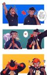 1boy black_hair black_hoodie brushing_teeth commentary_request dark_skin dark_skinned_male fingernails gen_4_pokemon gen_6_pokemon goodra gym_leader half-closed_eyes heart holding holding_toothbrush hood hoodie korean_commentary korean_text lemonmelon00 male_focus mouth_hold orange_headwear pokemon pokemon_(creature) pokemon_(game) pokemon_swsh raihan_(pokemon) rotom rotom_phone shirt short_sleeves sleepy smile spoken_heart t-shirt tearing_up teeth toothbrush translation_request