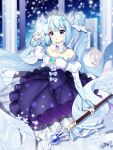 1girl absurdres bare_shoulders blue_eyes blue_hair blue_theme bow brooch column detached_collar detached_sleeves dress hair_ornament hatsune_miku highres holding holding_staff jewelry loggi long_hair long_sleeves pillar puffy_long_sleeves puffy_sleeves snow snowflake_hair_ornament snowflakes staff tiara twintails very_long_hair vocaloid white_bow winter yuki_miku yuki_miku_(2019)