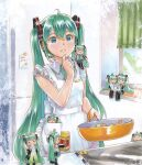 6+girls =_= ahoge apron aqua_eyes aqua_hair aqua_neckwear bare_shoulders black_legwear black_skirt black_sleeves book bottle clone commentary cookbook cooking detached_sleeves eating finger_to_chin frilled_apron frills frying_pan grey_shirt hair_ornament hatsune_miku headphones headset holding holding_frying_pan in_pocket indoors kitchen long_hair mayo_riyo minigirl multiple_girls necktie note open_book parted_lips pleated_skirt pointing reading refrigerator shared_book shirt sitting skirt sleeveless sleeveless_shirt spice spring_onion spring_onion_print thigh-highs thinking translated twintails very_long_hair vocaloid white_apron window
