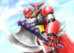 axe cape getter-1 getter_robo highres holding holding_axe horns looking_down mecha no_humans redesign ryu_suio_shou sky solo super_robot yellow_eyes