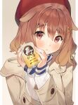 1girl :o absurdres animal_ears bangs beret blush brown_background brown_coat brown_hair can coat dog_ears eyebrows_visible_through_hair hair_between_eyes hair_ornament hairclip hands_up hat highres holding holding_can hololive inugami_korone joker_(tomakin524) long_sleeves looking_at_viewer parted_lips red_eyes red_headwear ribbed_sweater sleeves_past_wrists solo sweater translation_request two-tone_background upper_body virtual_youtuber white_background white_sweater x_hair_ornament