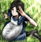 1girl alice:_madness_returns alice_(wonderland) alice_in_wonderland american_mcgee's_alice apron black_hair breasts ceramic_man closed_mouth dress green_eyes highres long_hair looking_at_viewer smile solo