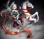absurdres animal_ears arknights armor banner boots breastplate english_commentary grani_(arknights) grey_eyes grey_hair highres horse horse_ears knight lance long_hair looking_at_viewer ochame petals poland polearm ponytail rearing riding shoulder_armor thigh-highs vambraces very_long_hair weapon winged_hussar