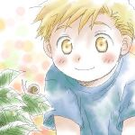 1boy alphonse_elric arm_support beige_background bent_over big_eyes blonde_hair blue_shirt blush blush_stickers child close-up closed_mouth dew_drop dot_nose face facing_viewer fullmetal_alchemist happy leaf leaning leaning_forward looking_down looking_to_the_side lowres male_focus multicolored multicolored_background nose_blush orange_background pink_background polka_dot polka_dot_background shirt short_sleeves simple_background smile snail tareme uho_(uhoponta) upper_body water water_drop white_background yellow_background yellow_eyes younger