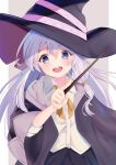 1girl absurdres black_robe blue_eyes blush elaina_(majo_no_tabitabi) file112056 hair_tubes hat highres majo_no_tabitabi neck_ribbon open_clothes open_mouth ribbon robe simple_background smile solo upper_teeth wand witch witch_hat yellow_ribbon