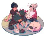 2boys alternate_color arm_support barefoot beanie black_hair blush brown_pants brown_shirt cable_knit closed_eyes commentary_request dark_skin dark_skinned_male gen_7_pokemon gen_8_pokemon grey_headwear hat heart holding holding_pokemon hop_(pokemon) male_focus multiple_boys pants pincurchin pokemon pokemon_(creature) pokemon_(game) pokemon_swsh pyukumuku red_shirt shirt short_hair sitting sleeves_rolled_up smile snom toes tsuda_(tsudapm) victor_(pokemon) wooloo