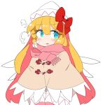 1girl blonde_hair blue_eyes blush bow breath capelet commentary_request dress fairy_wings gloves hat hat_bow ini_(inunabe00) lily_white long_sleeves open_mouth pink_gloves pink_scarf red_bow scarf simple_background solo touhou white_background white_dress white_headwear wings winter_clothes