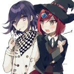 !! 1boy artist_name bangs black_headwear black_jacket black_shirt blush brown_eyes checkered checkered_scarf collared_shirt commentary_request dalrye_v3 danganronpa double-breasted food gasp gem grin hair_between_eyes hair_ornament hairclip hand_up hands_up hat jacket long_sleeves looking_at_another new_danganronpa_v3 open_mouth ouma_kokichi pleated_skirt pocky pocky_day purple_hair red_skirt redhead scarf school_uniform shirt short_hair simple_background skirt smile teeth teeth_hold twitter_username violet_eyes white_background white_shirt witch_hat yumeno_himiko